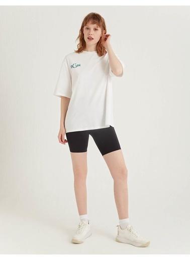 BGN Beyaz - Baskılı Pamuklu T-Shirt Beyaz